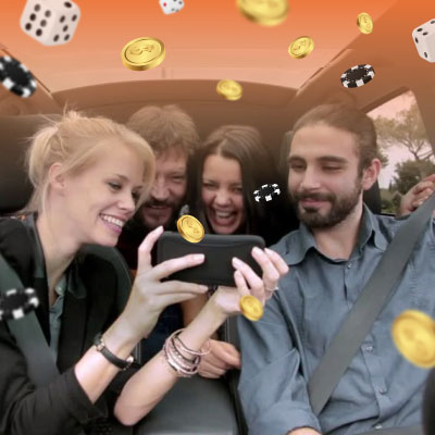 People in car play online casino